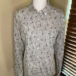 J. Crew Haberdashery Black & White Button Down XL